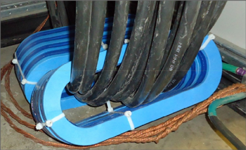 CoolBLUE inductive absorbers being used on large wires