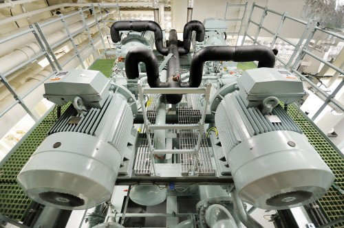 aerial view of two electric motors