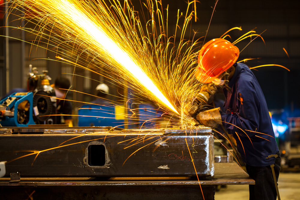 Worker in a steel mill