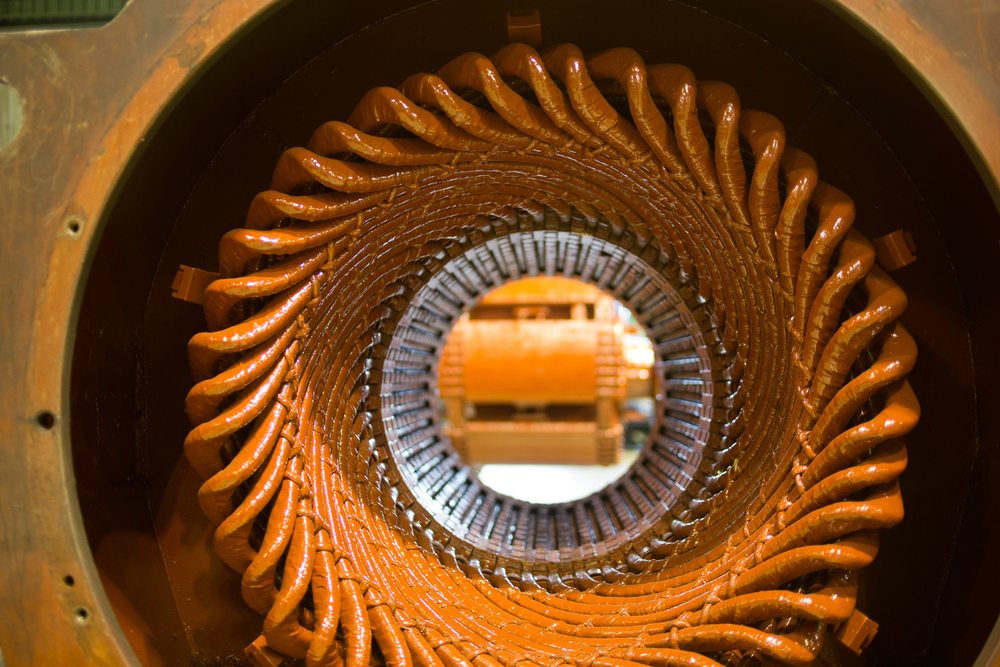looking into the center of a large electric motor