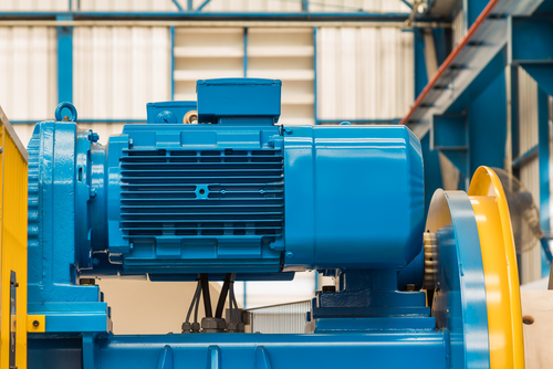Bright blue and yellow electric motor