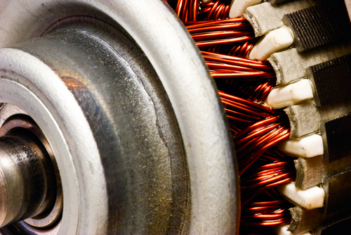 Close-up, selective focus of electric motor rotor